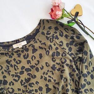 LOFT Olive green/black sweater leopard print